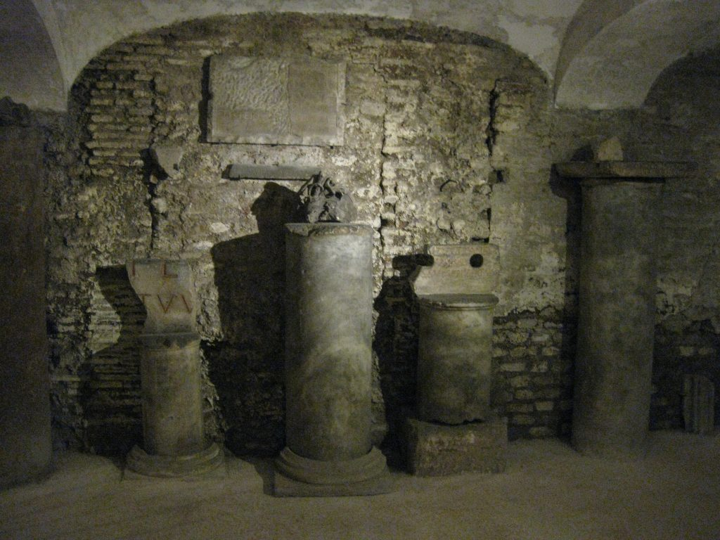 Underground Rome: a detail from the remains under Basilica Santa Cecilia