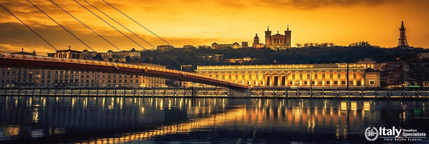 View of Saone River at Sunset,Lyon, France