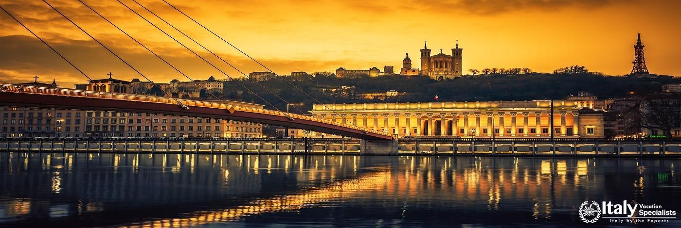 View of Saone River at Sunset,Lyon, France