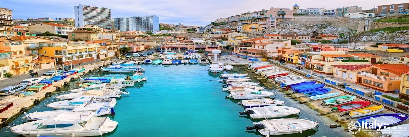Colorful Yacht Harbour in Old City of Marseilles, France