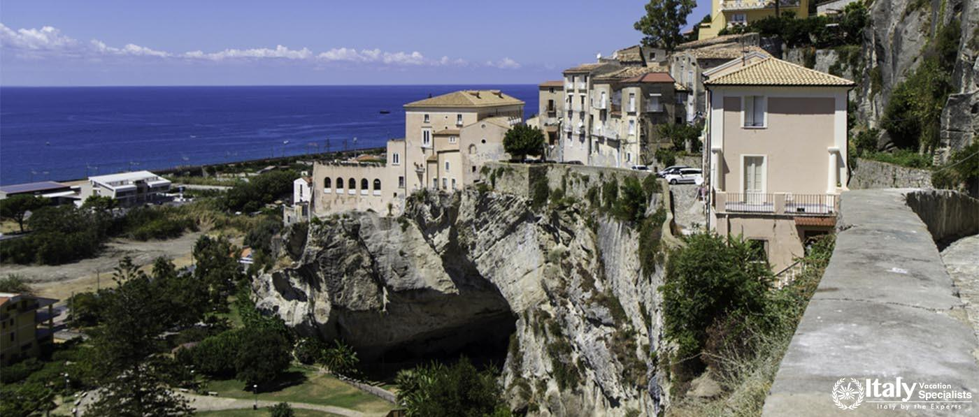panorama of old Amantea's, top view with coast and sea, italy