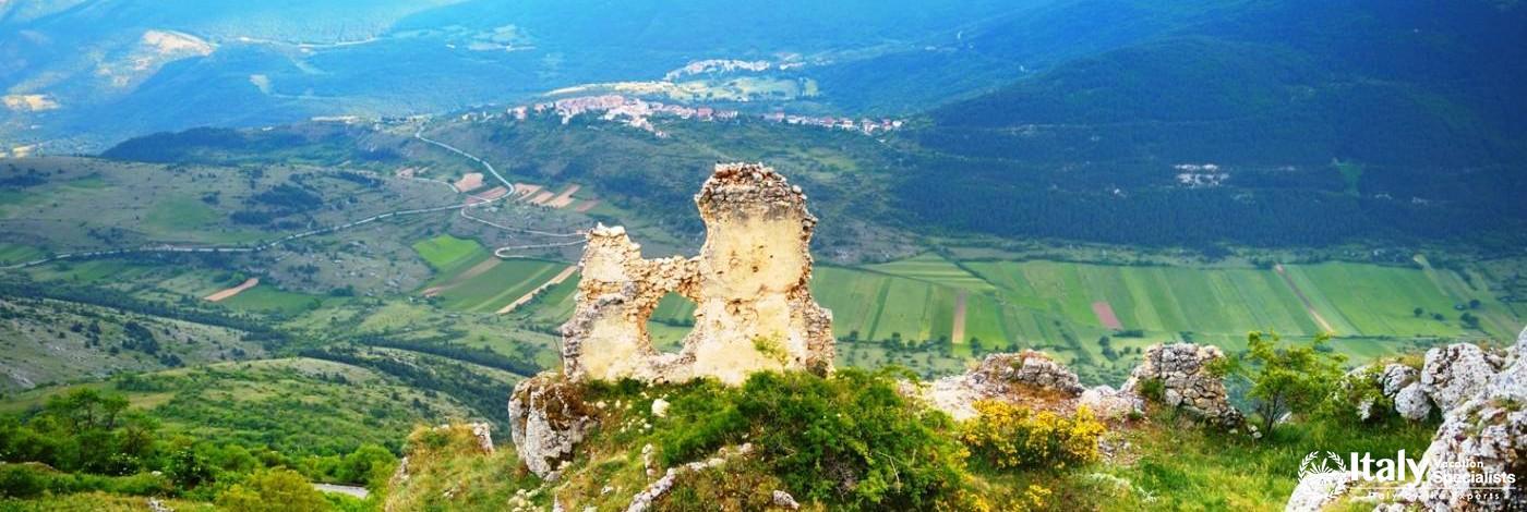 Rocca Calascio castle at summer sunset, Abruzzo, Italy