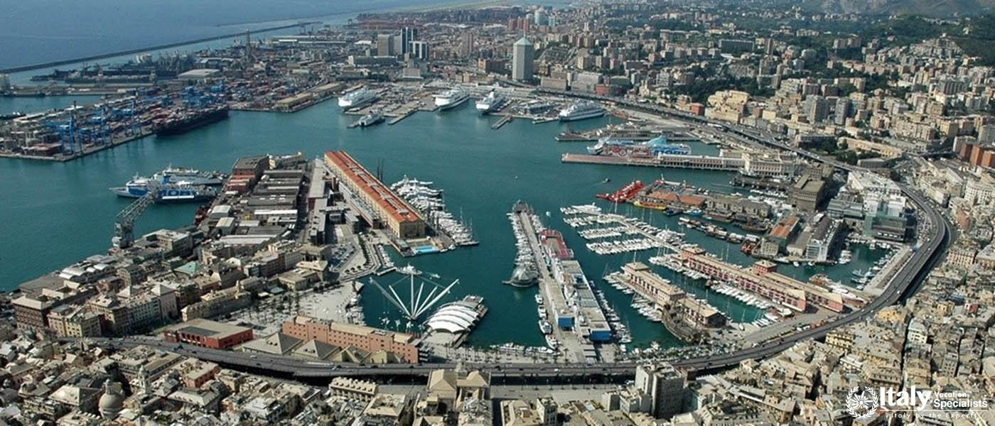 amazing view of Genoa cruise port Italy
