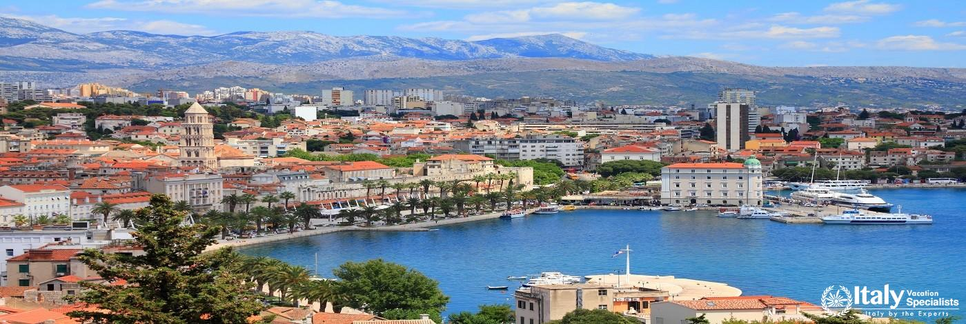 Split, Croatia, Region of Dalmatia, with Mosor Mountains in Background.