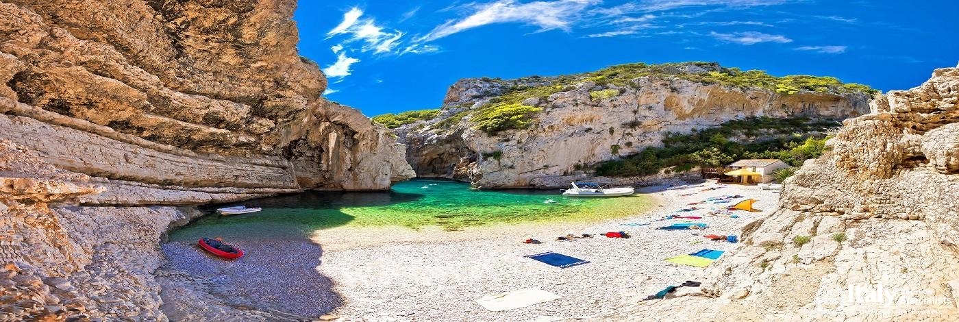 Amazing Stiniva Beach of Vis Island, Dalmatia, Croatia