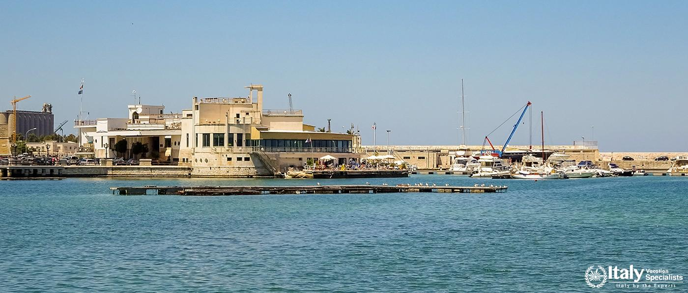 View of the port, the feast and the sea in Italian city Bari. Bari is capital city of Metropolitan C