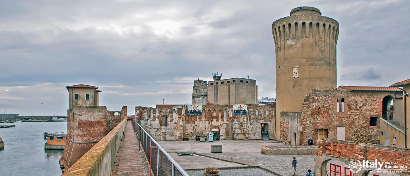 LIVORNO, ITALY - SEPTEMBER 13, 2018 Photo of Tower (Matilda) Matilde. Old fortress (Fortezza Vecchia