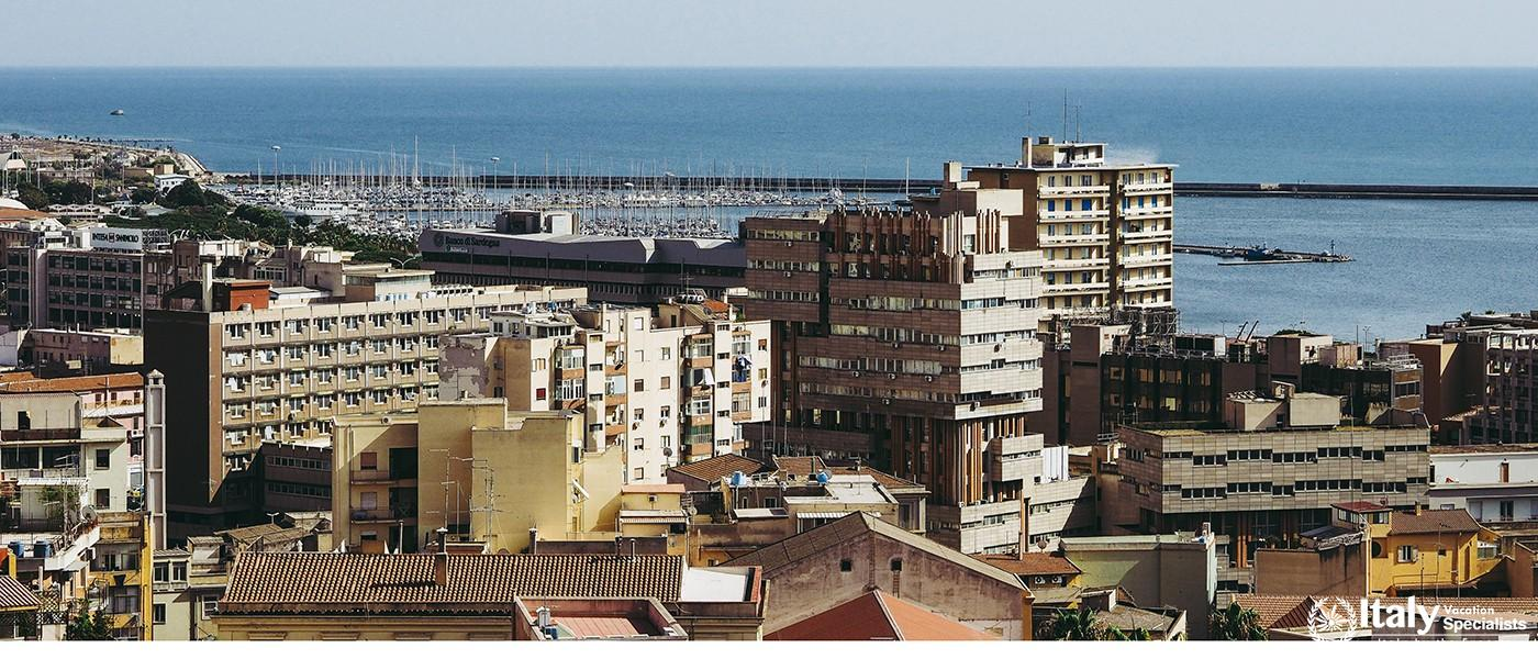 Amazing Aerial view of the city of Cagliari. Italy
