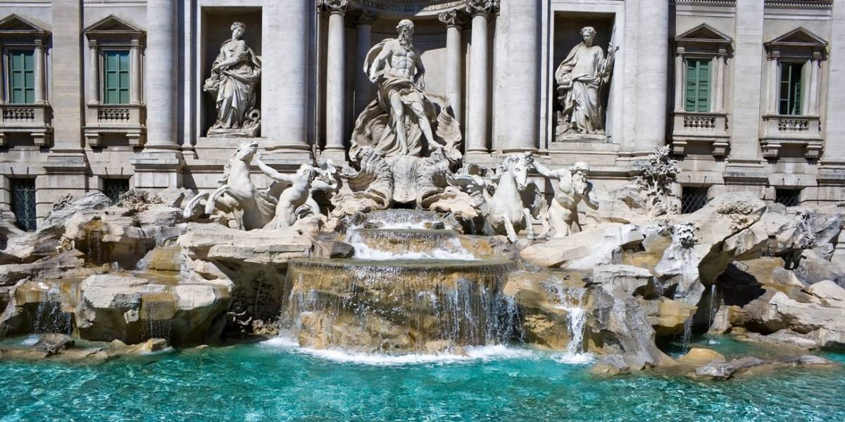 View of theTrevi Fountain, Rome from the Relais Fontana di Trevi
