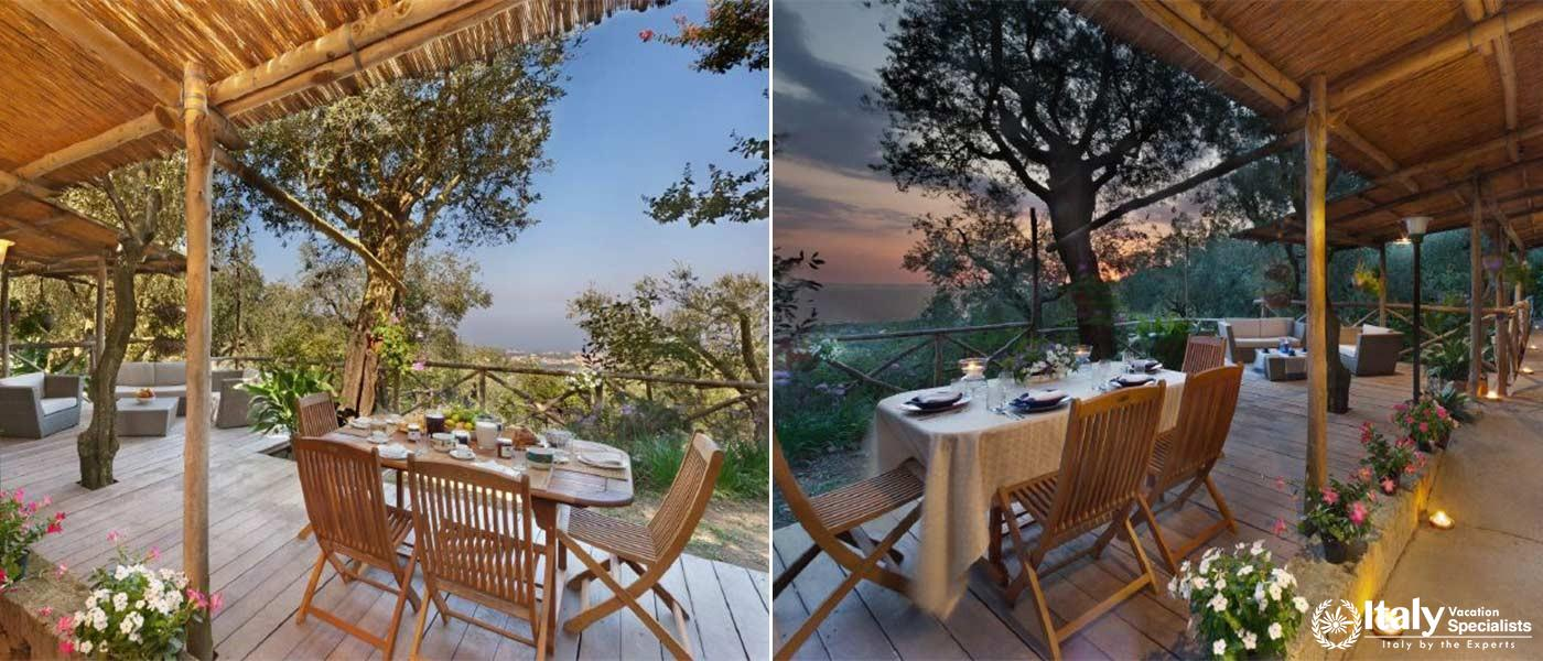 Outdoor dinning and sitting area in Villa Livia
