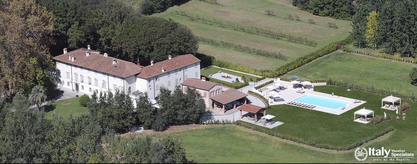 Arial view of Villa Pattoni