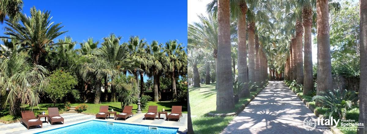 Swimming pool and garden in Villa Dimora