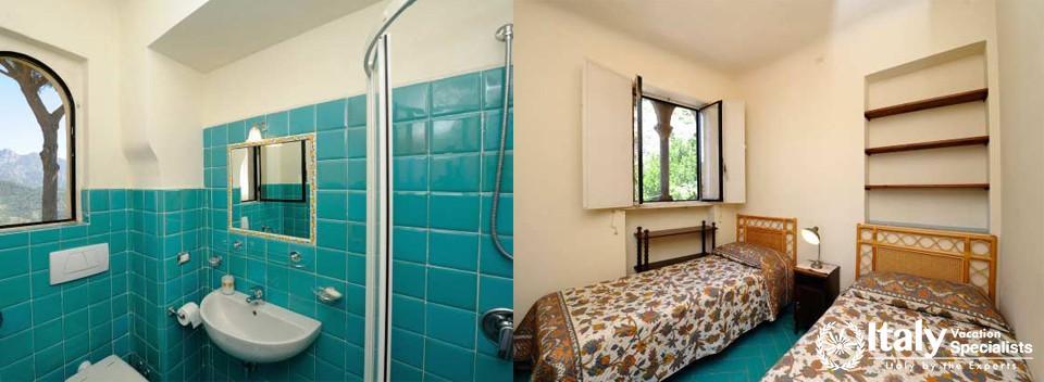 Bedroom and bathroom in Villa Tomeu