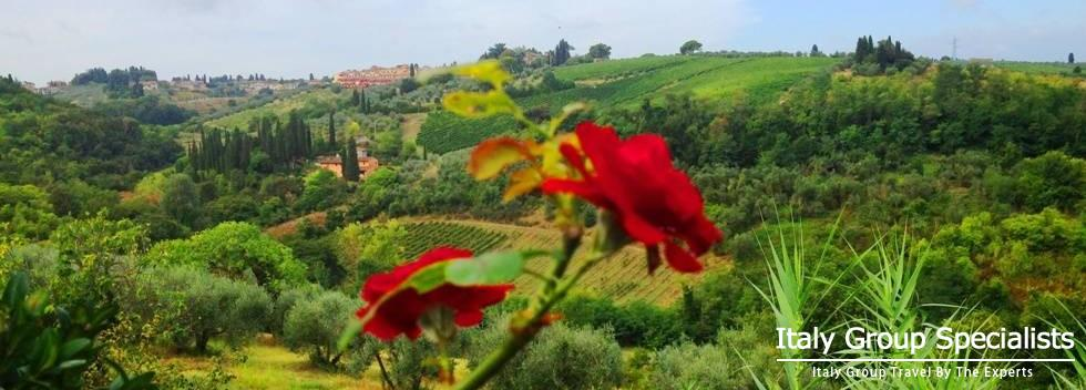 View overlooking the Tuscan Countryside, from the Villa Casavecchia Estate, Tuscany, Italy