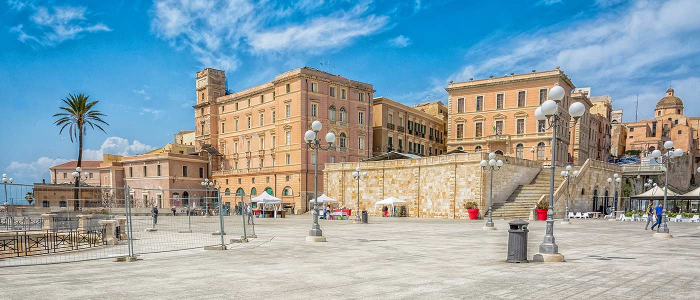 """From the large """"Umberto I"""" terrace you can enjoy a wide view of the city and of the port of Cagl"""