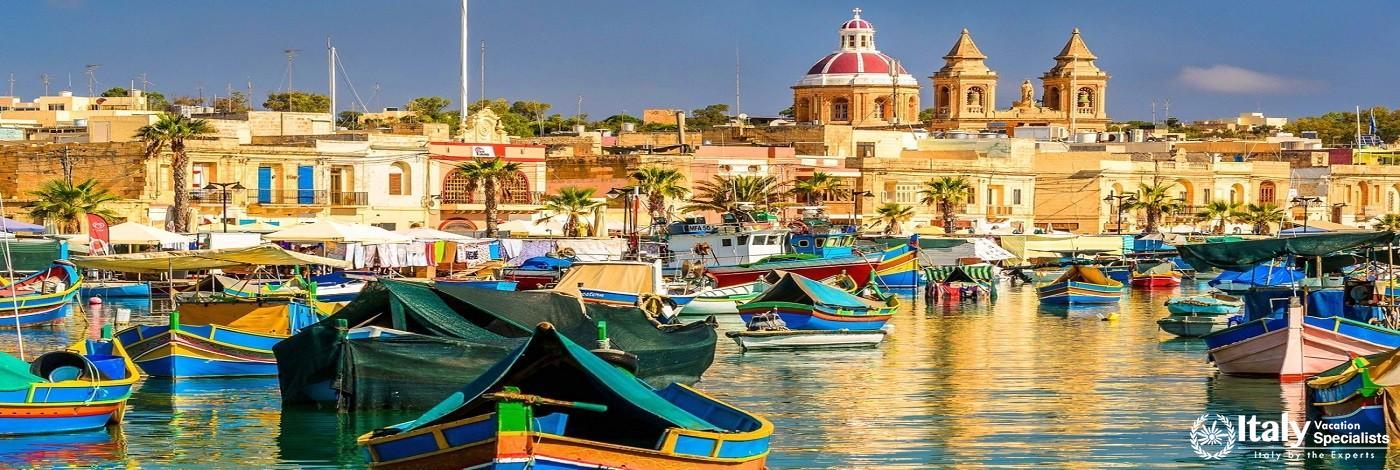 Stunning View of Marsaxlokk Harbour in Malta