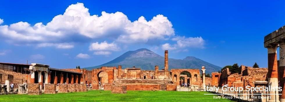 Spectacular Ruins of Pompeii with Vesuvius Behind