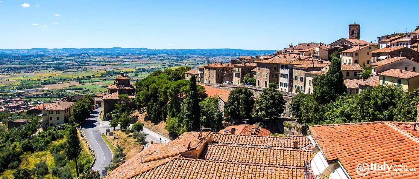 View of Cortona, medieval town in Tuscany, Italy