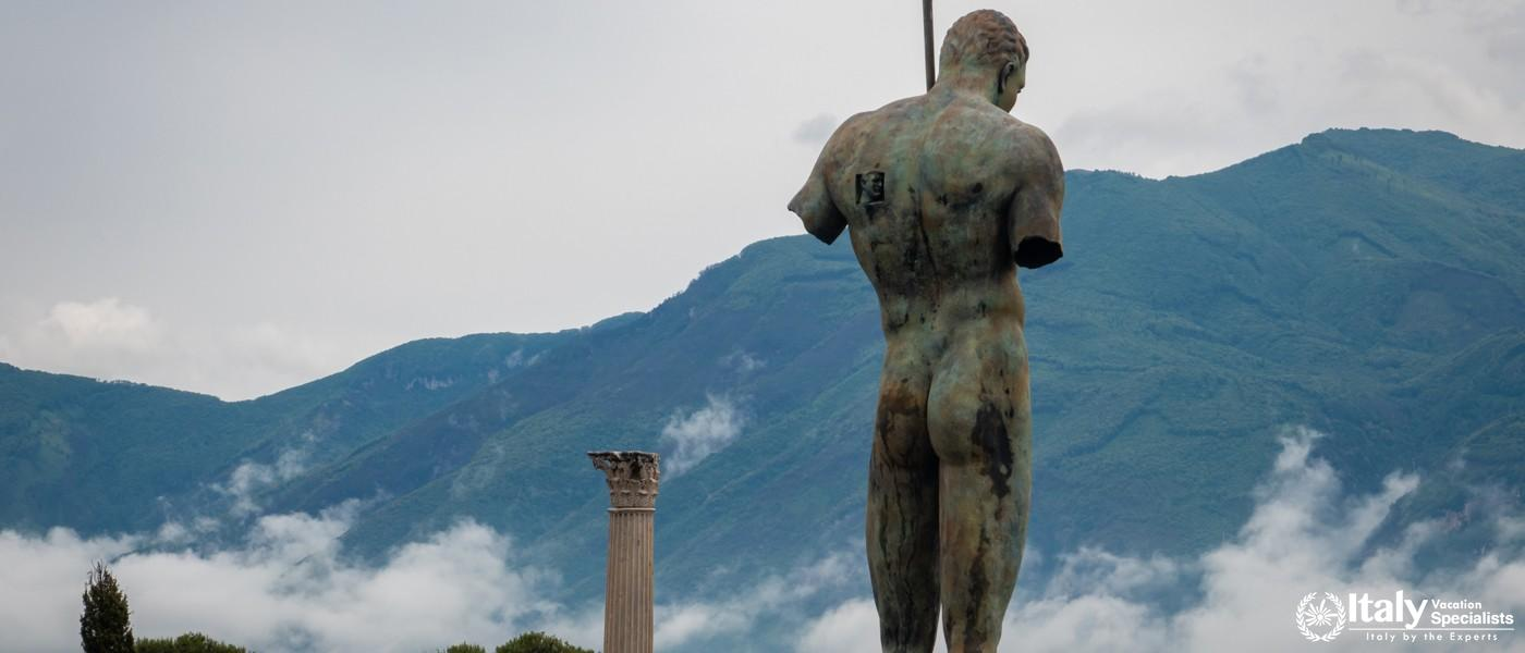 The statue of Daedalus is on display at the ancient ruins of Pompeii