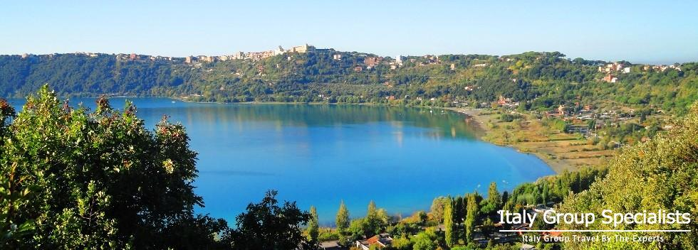 Beautiful Castello Gandolfo and Lake Albano in the Castelli Romani, Lazio Province, Rome Italy - Pho