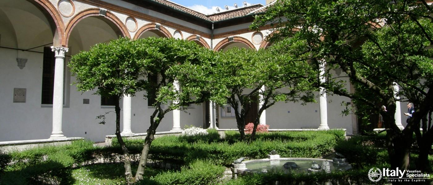 Inner yard of Santa Maria delle Grazie Church in Milan, Italy