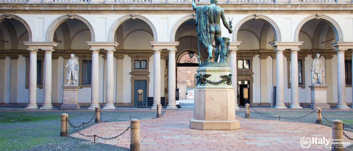 Milan, Italy - October 29, 2012 courtyard of Brera Academy (Pinacoteca di Brera) in Milan, Italy. No