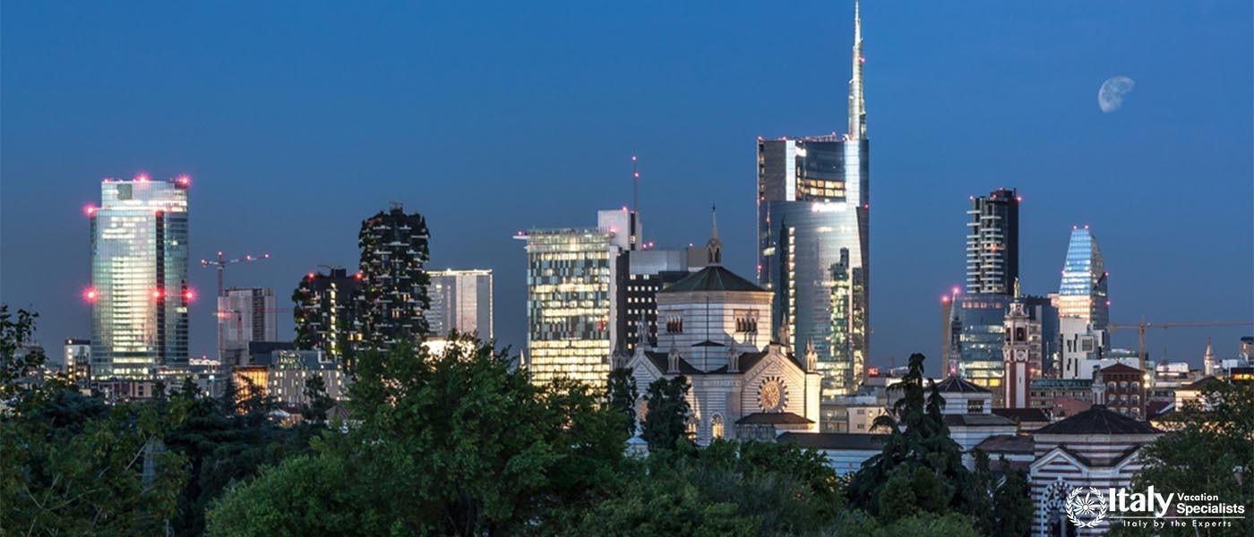 Milan skyline by night, Italy
