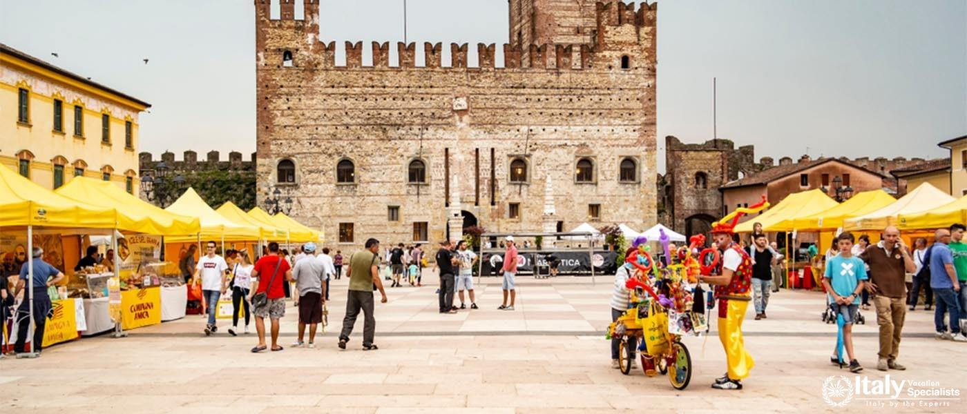 Market view on the castle of Marostica. May 27, 2018 Marostica, Vicenza - Italy