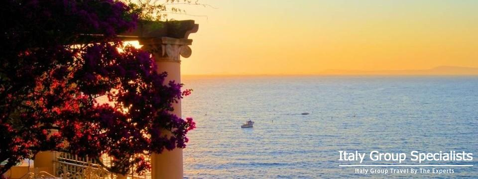 Sunset over Mediterranean Sea from Sorrento, Italy
