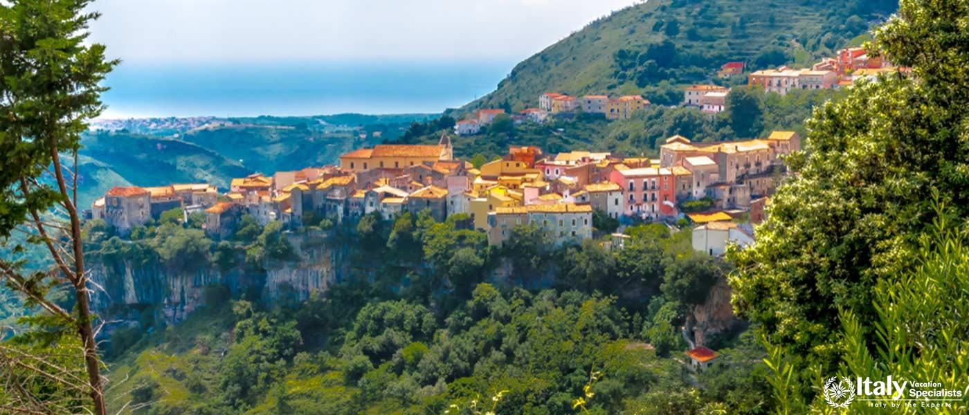 The very old Italian town of Tortora, built on a rocky hill in the Middle Ages, in Calabria