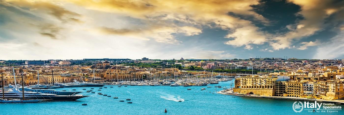 Beautiful Panoramic View on Valletta from the Sea at Sunset in Malta