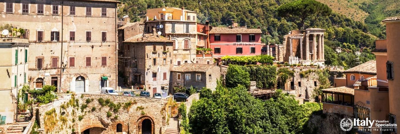 View over the Villa Gregoriana and Tivoli, Lazio, Italy